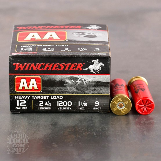"25rds - 12 Gauge Winchester AA Heavy Target 2-3/4"" 1-1/8 oz. #9 Shot Ammo"