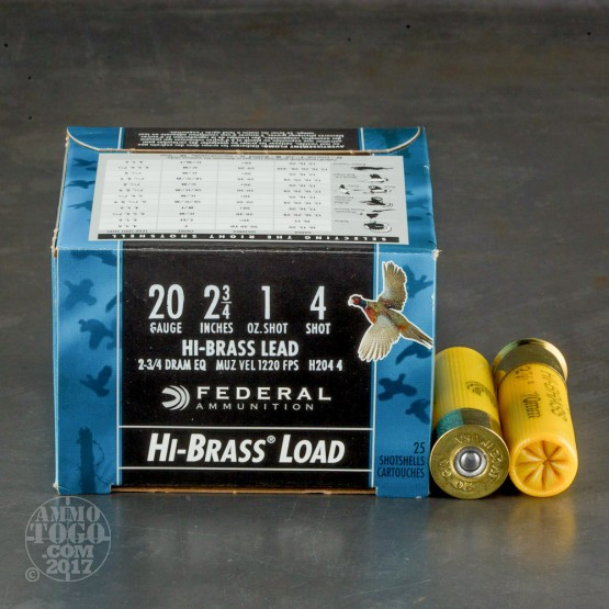"25rds - 20 Gauge Federal Game Shok Hi-Brass 2 3/4"" 1oz. #4 Shot Ammo"