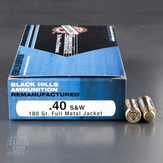 50rds - 40 S&W Black Hills 180gr. Remanufactured FMJ Ammo