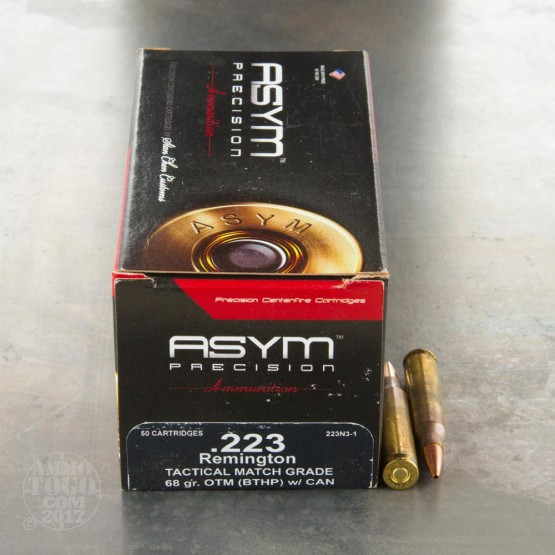 500rds - 223 ASYM Tactical Match Grade 68gr. OTM (BTHP) w/Cannelure