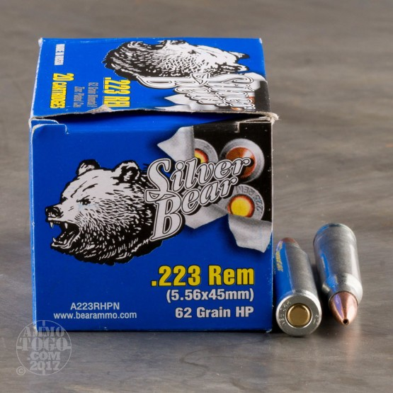 500rds - .223 Silver Bear 62gr. Hollow Point Ammo