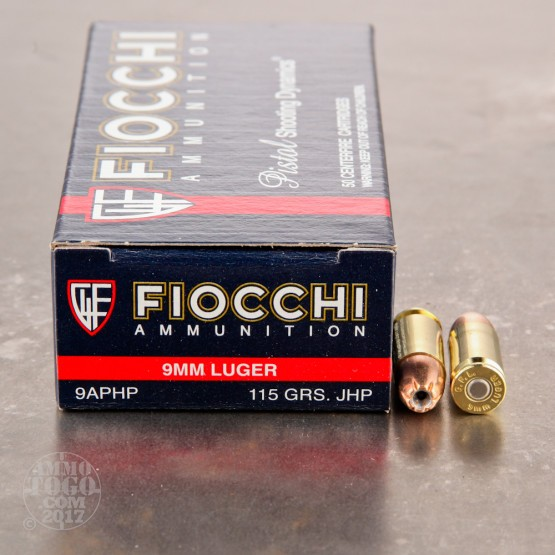 50rds - 9mm Fiocchi 115gr. Jacketed Hollow Point Ammo