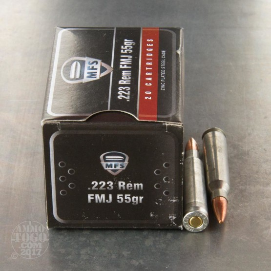 20rds - 223 Rem. MFS 55gr. FMJ Zinc Plated Steel Case Ammo