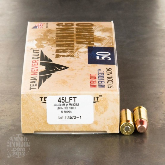 50rds – 45 ACP Team Never Quit 155gr. Frangible FR Ammo