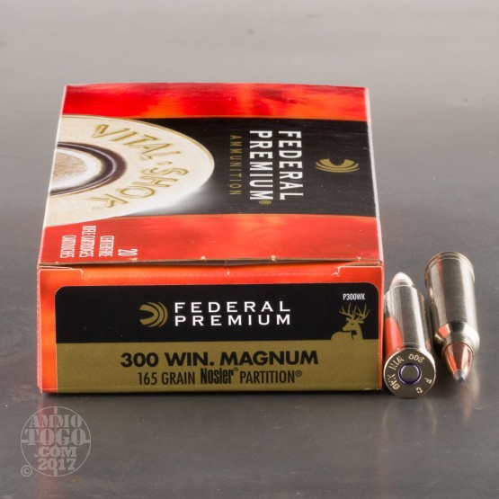 20rds - 300 Win Mag Federal Vital-Shok 165gr. Nosler Partition SP Ammo