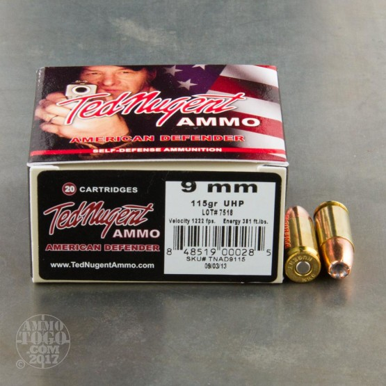 20rds - 9mm Luger Ted Nugent American Defender 115gr. UCHP Ammo