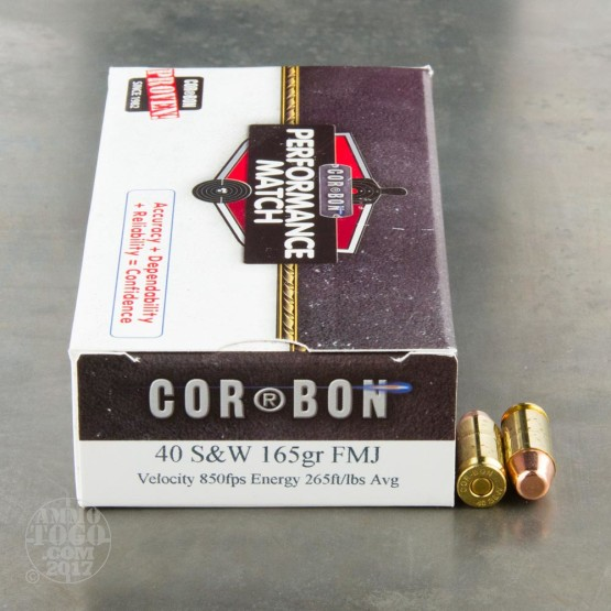 500rds - 40 S&W Corbon Performance Match 165gr. FMJ Ammo