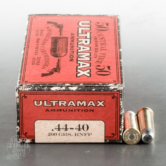 50rds – 44-40 WCF Ultramax 200gr. Round Nose Flat Point Ammo