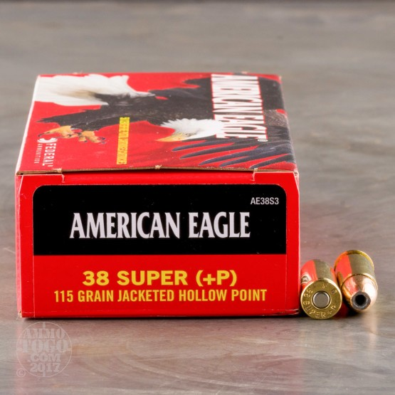 50rds - 38 Super Auto Federal American Eagle 115gr. +P JHP Ammo
