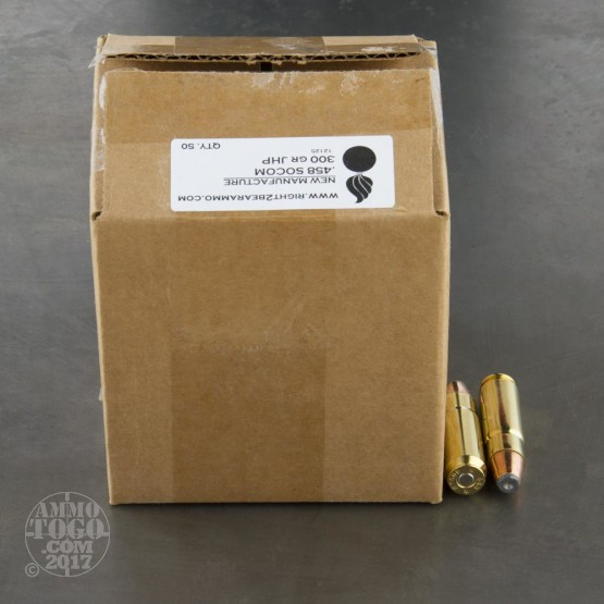 50rds - 458 SOCOM Right To Bear 300gr. JHP Ammo