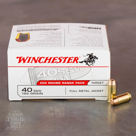 200rds - 40 S&W Winchester USA 165gr. FMJ Ammo