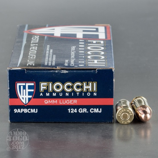 50rds – 9mm Fiocchi 124gr. CMJ Ammo