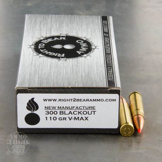 200rds - 300 AAC BLACKOUT Right To Bear 110gr. V-Max Polymer Tip Ammo