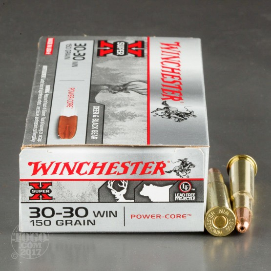 20rds – 30-30 Winchester Super-X 150gr. Power Core 95/5 Lead-Free BTHP Ammo
