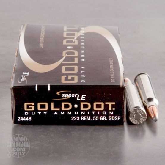 200rds - 223 Speer 55gr. Gold Dot Duty GDSP Ammo