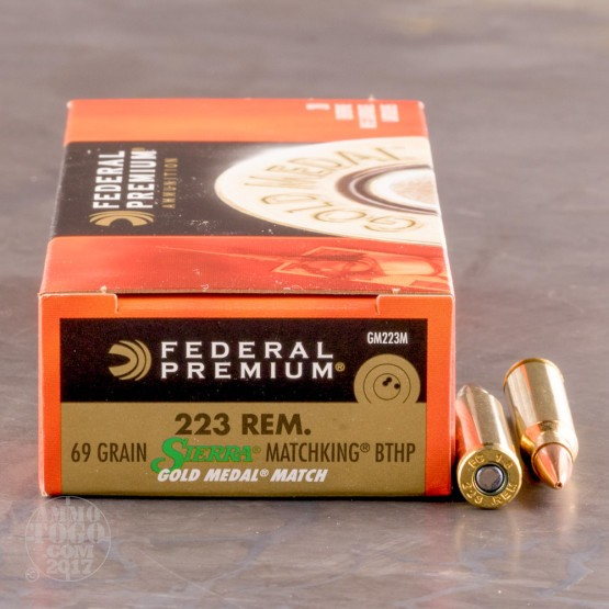 200rds - .223 Federal Gold Medal 69gr. Match BTHP Ammo