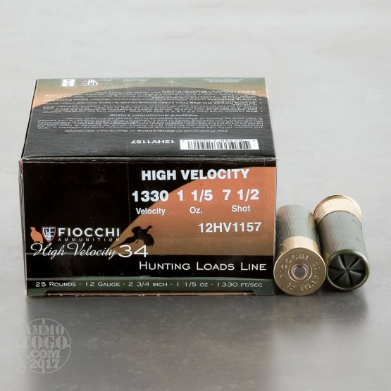 "25rds - 12 Gauge Fiocchi High Velocity Hunting 2 3/4"" 1 1/5oz. # 7 1/2 Shot Ammo"