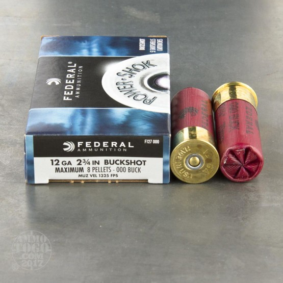 "250rds - 12 Ga. Federal Power Shok 2 3/4"" 8 Pell. 000 Buckshot Ammo"