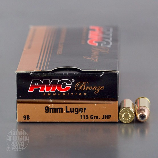 50rds - 9mm PMC Bronze 115gr. JHP Ammo