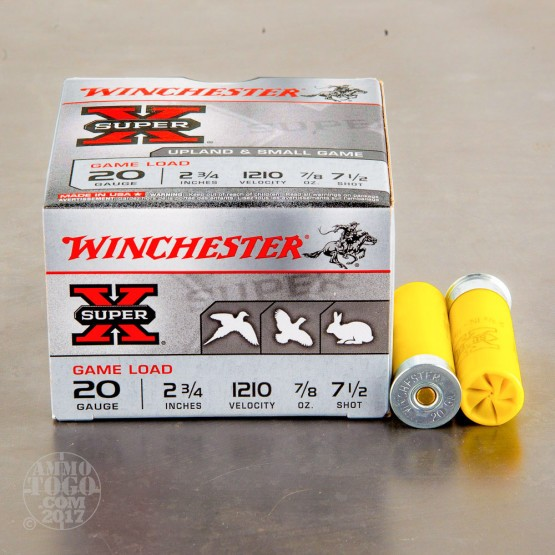 "250rds - 20 Gauge Winchester Super-X Game Load 2 3/4"" 7/8oz. #7 1/2 Shot Ammo"