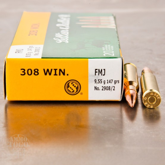 500rds - 308 Sellier & Bellot 147gr. FMJ Ammo