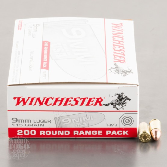 200rds - 9mm Winchester Range Pack 115gr. FMJ Ammo