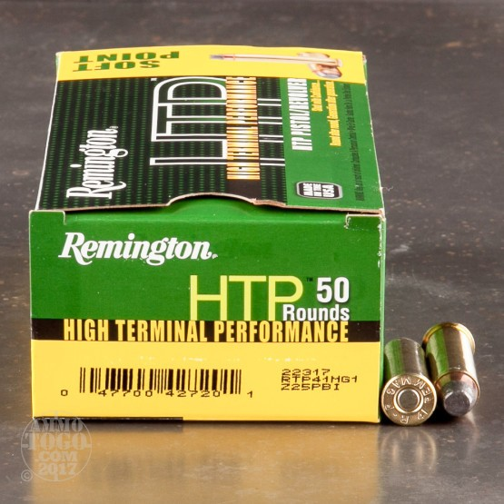 50rds - 41 Mag Remington HTP 210gr. Semi-Jacketed Soft Point Ammo