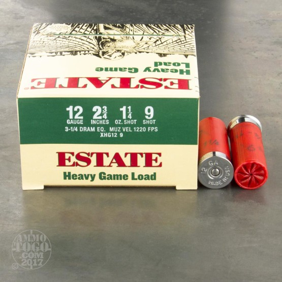 "25rds - 12 Gauge Estate Heavy Game Load 2 3/4"" 3 1/4 Dram 1 1/4oz. #9 Shot Ammo"