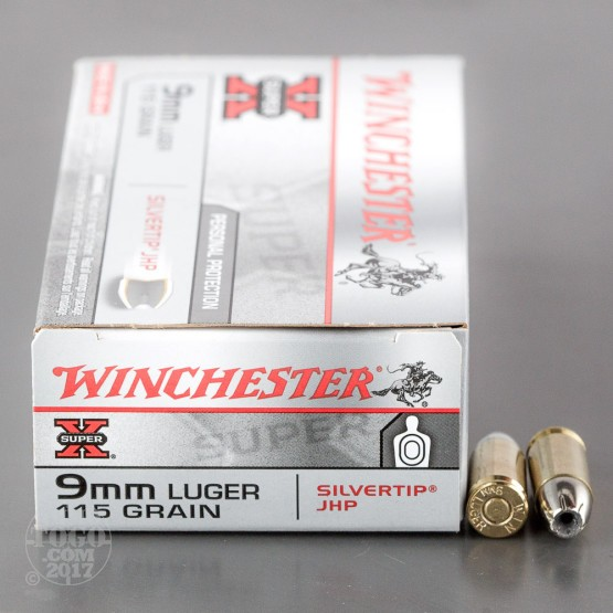 50rds - 9mm Winchester 115gr. Silvertip Hollow Point Ammo