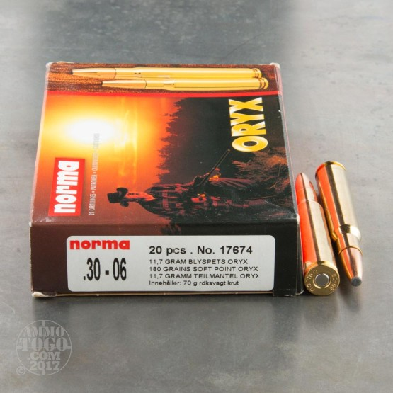 20rds - 30-06 Norma Oryx 180gr Bonded Soft Point Ammo