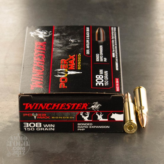 20rds - .308 Winchester Powermax Bonded 150gr. HP Ammo