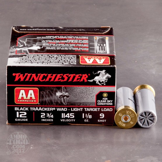 "25rds - 12 Gauge Winchester AA TrAAcker 2-3/4"" Black Hull 1-1/8 Ounce #9 Shot Ammo"