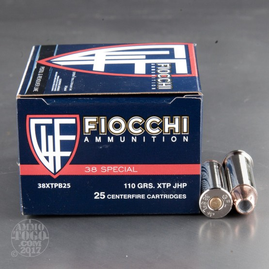 25rds - 38 Special Fiocchi 110gr. +P XTP JHP Ammo