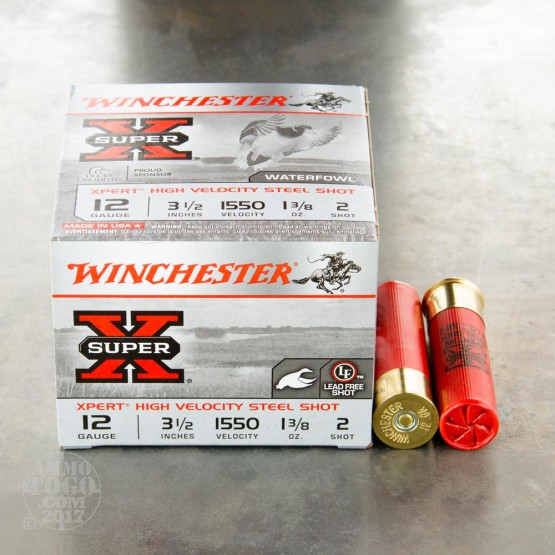 "25rds – 12 Gauge Winchester Super-X High Velocity 3-1/2"" 1-3/8 oz. #2 Steel Shot Ammo"