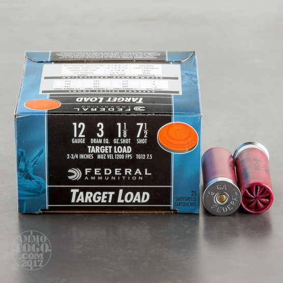 "25rds - 12 Gauge Federal Top Gun Target Load 2 3/4"" 1 1/8oz. #7 1/2 Shot Ammo"