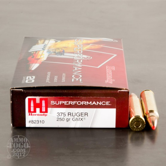 20rds - 375 Ruger Hornady Superformance 250gr. GMX Polymer Tip Ammo