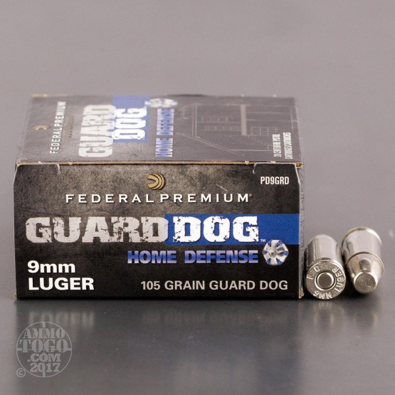 20rds - 9mm Federal Premium Guard Dog 105gr. EFMJ Ammo