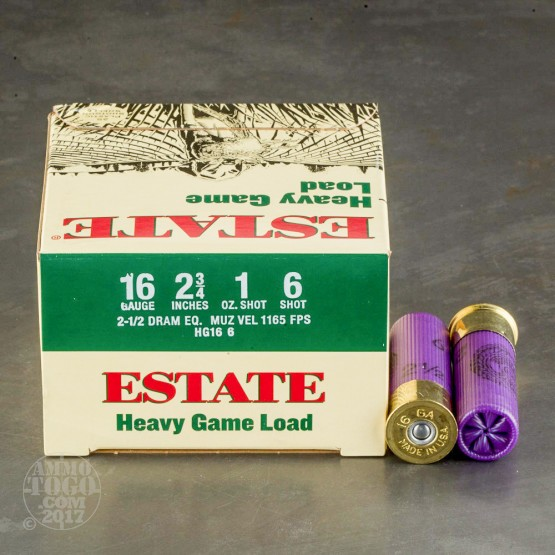 "250rds - 16 Gauge Estate Heavy Game Load 2 3/4"" 2 1/2 Dram 1oz. #6 Shot Ammo"