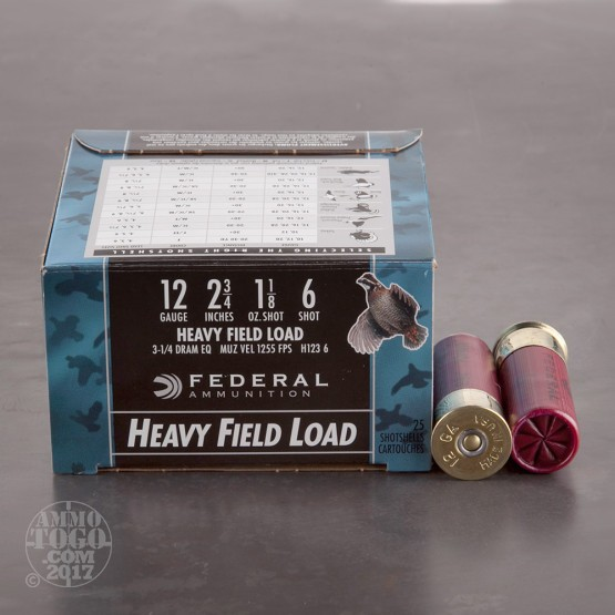 "250rds - 12 Gauge Federal Game Shok Heavy Field 2 3/4"" 1 1/8oz. #6 Shot Ammo"