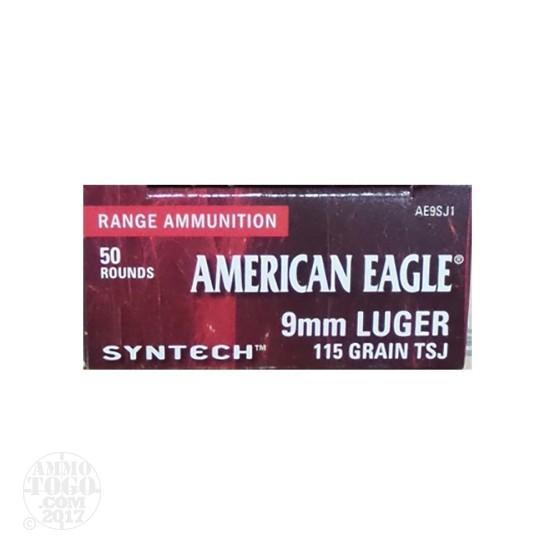 50rds - 9mm Federal American Eagle Syntech 115gr. TSJ Ammo