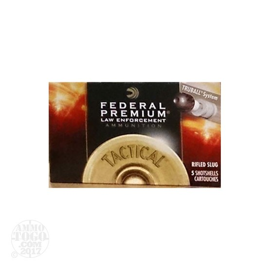 "5rds - 12 Gauge Federal Tactical LE 2 3/4"" 1 oz. TruBall Rifled Slug HP Ammo"
