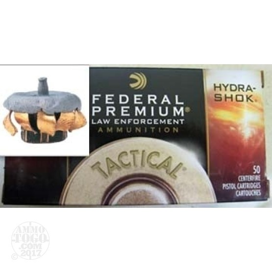 50rds - 40 S&W Federal LE Tactical Hydra-Shok 180gr. HP Ammo