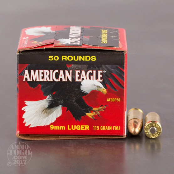 50rds – 9mm Federal American Eagle (trayless) 115gr. FMJ Ammo
