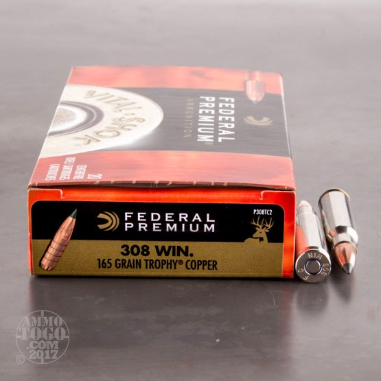 20rds - 308 Win Federal Premium 165gr. Trophy Copper Polymer Tip Ammo