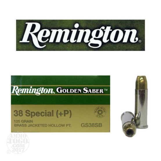 25rds - 38 Spec. Remington 125gr. Golden Saber +P BJHP Ammo