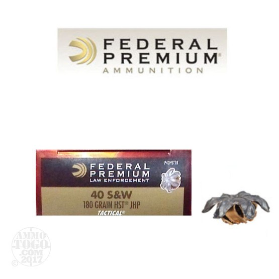 50rds - 40 S&W Federal Premium Tactical 180gr. HST HP Ammo
