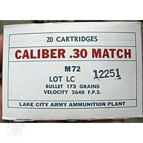 200rds - 30-06 Lake City M72 173gr. Match Ammo