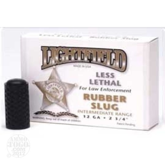 5rds - 12 Gauge Lightfield Mid-Range Rubber Slug Less Lethal Amm