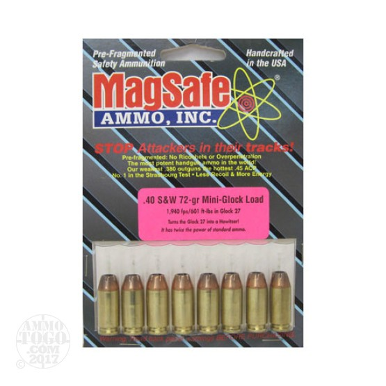 8rds - 40 S&W Magsafe 72gr. Mini-Glock Ammo