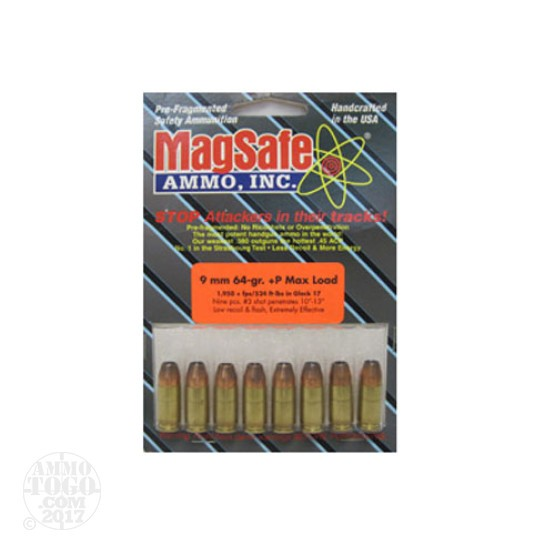 8rds - 9mm Magsafe 64gr. +P Stealth Ammo